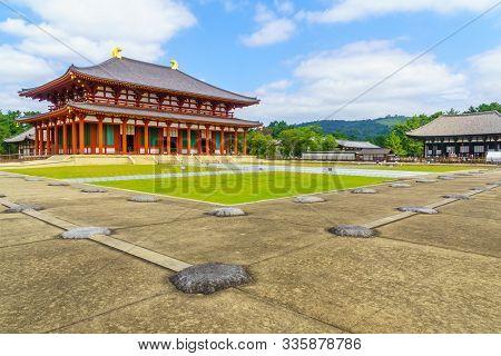 Nara, Japan - October 5, 2019: View Of The Chu-kondo (central Golden Hall) At Kofukuji, With Visitor