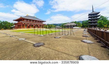 Nara, Japan - October 5, 2019: View Of The Chu-kondo (central Golden Hall), To-kondo (east Golden Ha