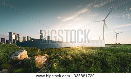 Concept Of Sustainable Energy Solution In Beautifull Sunset Backlight. Frameless Solar Panels, Batte