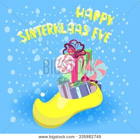 Greeting Card In Cartoon Style With A Traditional Dutch Shoe Filled With Gifts And Sweets. St. Nicol