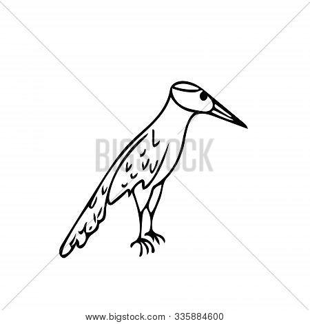 Woodpecker Bird In Hand Drawn Scandinavian Style. Kids Room Decor