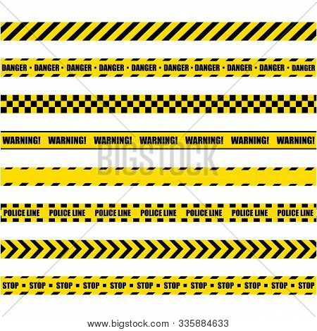 Police Warning Line. Yellow And Black Barricade Construction Tape On White Background. Vector Illust
