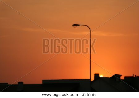 urban view at sunset poster