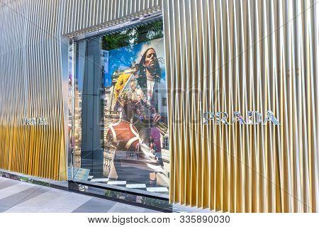 Asia/singapore - November 22, 2019 : Prada Store In New Shopping Mall. Prada S.p.a. Is An Italian Lu