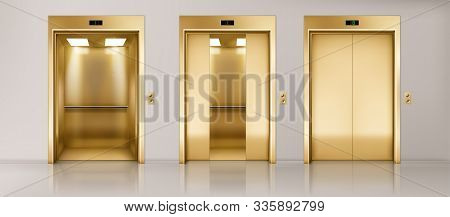 Golden Lift Doors. Office Hallway With Closed, Half Closed And Open Elevator Cabins. Vector Realisti
