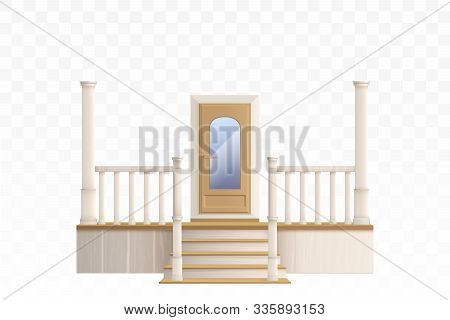 Wooden Front Door With Glass Window And Porch Staircase With Decorative Balustrade And Pillars. Vect