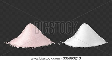 Pink And White Sea Salt For Bath, Spa Treatments And Healthy Food. Vector Mockup Of Realistic Two He