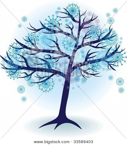 Season Tree For Winter With Snowflakes