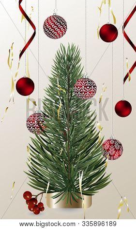 Christmas Card With Realistic Vector Christmas Tree, Glass Ball With Lettering.vector Christmas Desi