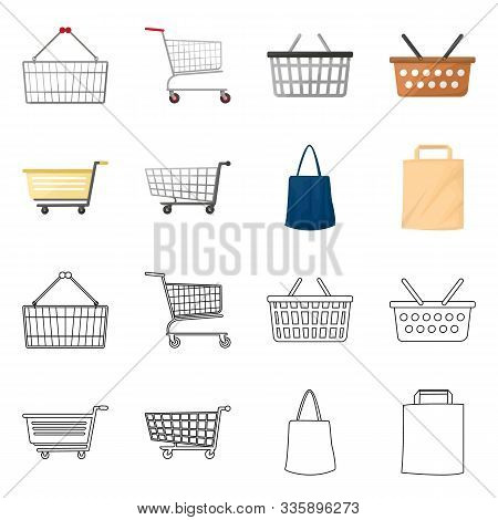 Vector Illustration Of Pushcart And Cart Symbol. Set Of Pushcart And Market Vector Icon For Stock.