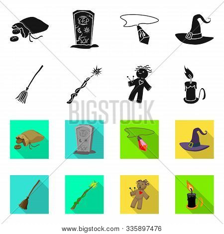 Vector Illustration Of Witchcraft And Mystic Sign. Set Of Witchcraft And Magic Stock Symbol For Web.