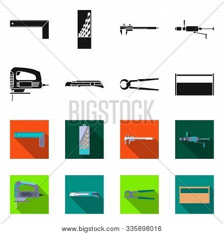 Vector Design Of Renovation And Household Sign. Set Of Renovation And Handicraft Vector Icon For Sto