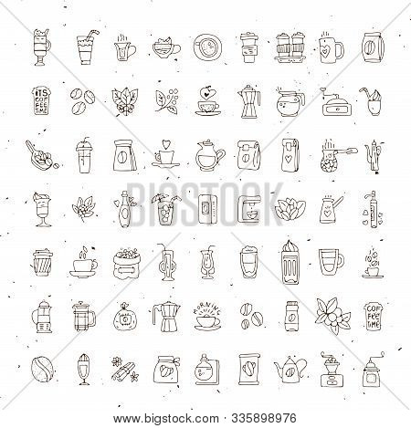 Vector Set Of Coffee Icons On White Background. Hand Drawn Coffee Icon, Vector Doodle Collection. Mo