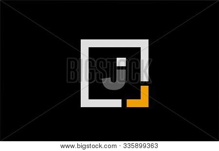 Black White Orange Square Letter J Alphabet Logo Design Icon For Company. Suitable As A Logotype For
