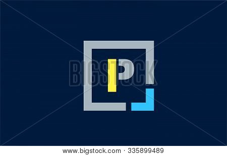 Blue Yellow Letter P Alphabet Logo Design Icon For Business. Suitable As A Logotype
