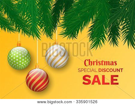 Christmas Sale Vector, Promotional Poster With Proposition For Clients Of Shops. Shopping For Winter