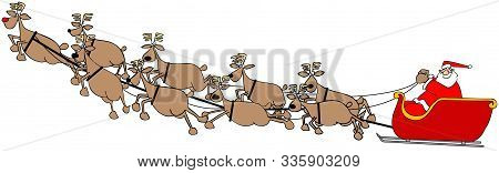 Illustration Of Santa Claus In His Sleigh Being Pulled Through The Air By His Reindeer.