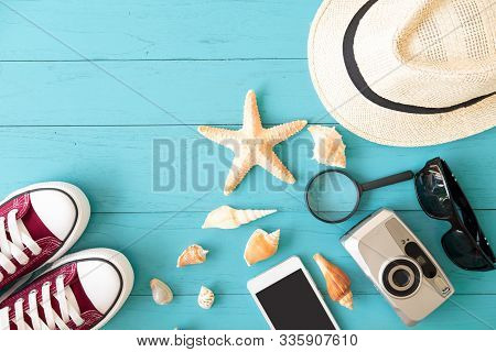 Overhead View Of Traveler's Accessories, Essential Vacation Items,summer Holiday Background,travel C