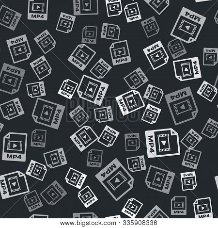 Grey Mp4 File Document. Download Mp4 Button Icon Isolated Seamless Pattern On Black Background. Mp4
