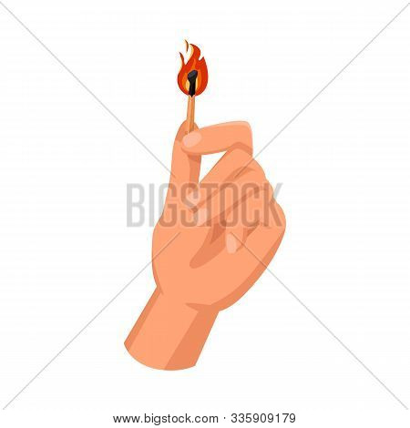 Isolated Object Of Matchstick And Arm Symbol. Graphic Of Matchstick And Blaze Vector Icon For Stock.