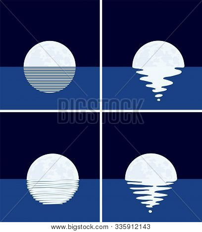 Vector Background Set Of Sea, Full Moon At Night. Illustration Of Different Light Reflection Of Moon