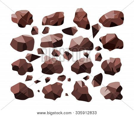 Vector Set Of Sweet Dark Chocolate Bar Crumb Pieces Isolated On White Background. Abstract Brown Cho