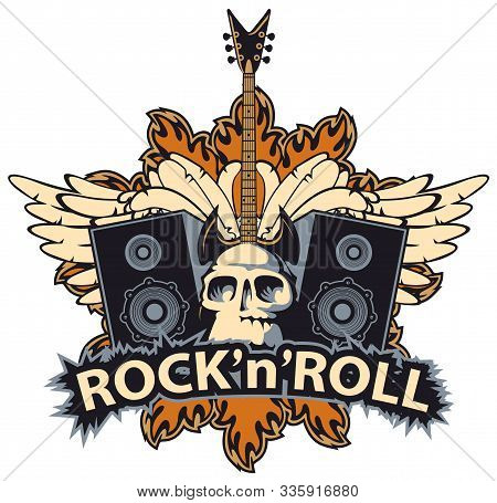 Vector Music Banner With Lettering Rock And Roll, Human Skull, Electric Guitar, Speakers, White Wing