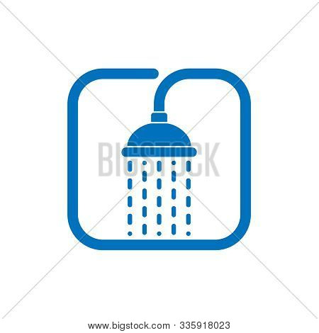 Shower Head With Trickles Water Graphic Icon. Douche Sign Isolated On White Background. Shower Or Ba