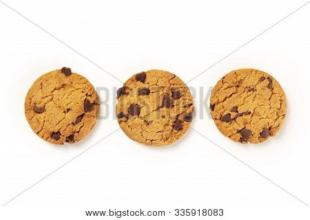 Chocolate Chip Cookies, Gluten Free, Shot From The Top On A White Background