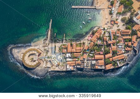 Aerial View Of Goree Island. Gorée. Dakar, Senegal. Africa. Photo Made By Drone From Above. Unesco W