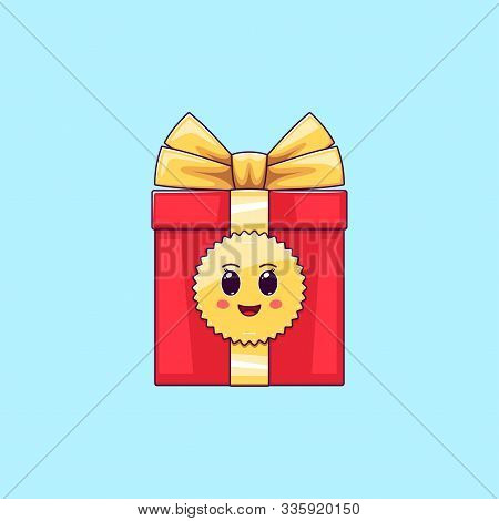 Cartoon Kawaii Gift Box With Cheerful Face. Cute Red Gift With Golden Bowknot, Festive Character Wit