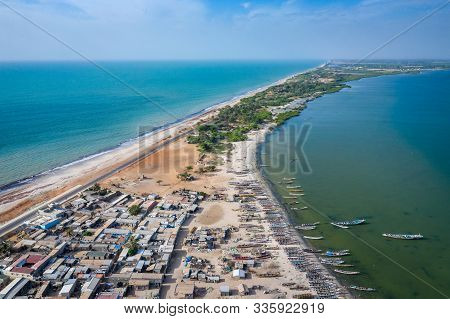 Aerial View Of Fishing Village Of Djiffer. Saloum Delta National Park, Joal Fadiout, Senegal. Africa