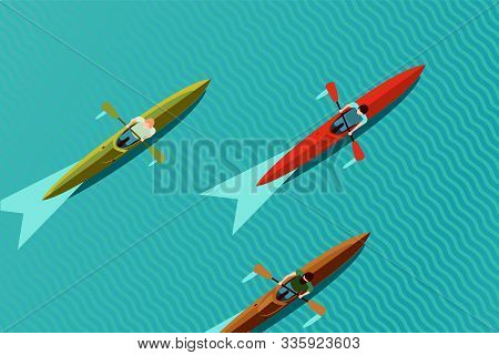 Rowing Team. Top View Of Kayak Boat. Canoe Race Vector Illustration, Flat Style.