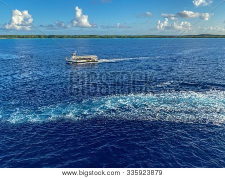Half Moon Cay/bahamas-10/31/19: A Tender Ready To Pick Up Passengers Off The Holland America Line Cr