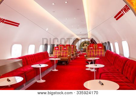 Jfk Airport, Queens Ny  - September 03 2019: Inside Of The Twa Connie Beautifully Restored And Used