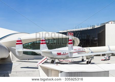 Jfk Airport, Queens Ny  - September 03 2019: Lockheed Connie Used As A Cocktail Lounge Today At The