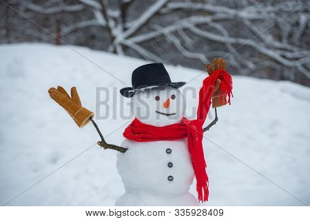 Snowman In Snow Forest. Snowman Wish You Merry Christmas And Happy Holidays. Snowman And Snow Day. W