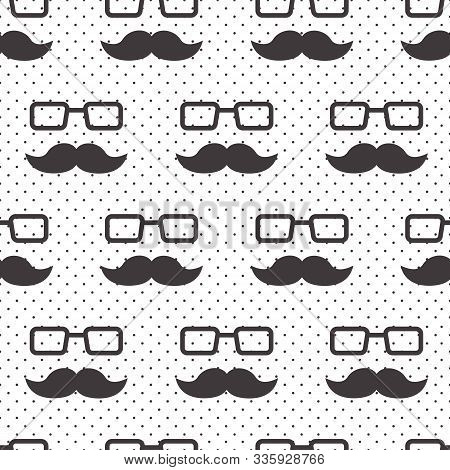 Male Seamless Pattern, Gentlemens Print With Mustaches And Glasses On Polka Dot Background, Wrapping