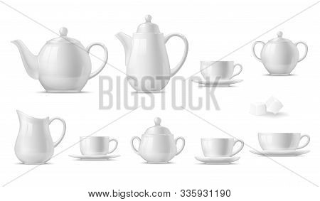 Tea Or Coffee Set With 3d Vector White Cups, Mugs And Pots, Teapot, Sugar Bowl, Saucers And Creamer.