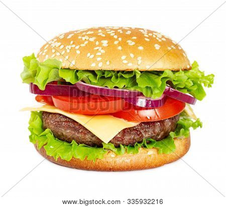 Classic Cheeseburger With Beef, Cheese, Bacon, Tomato, Onion And Lettuce Isolated On White Backgroun