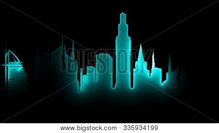 3d Rendering Of An Abstract Bright Neon City Silhouette. A Luminous Neon Line Filling The Outline Of