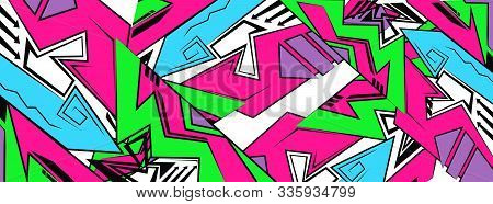 Backdrop, Graffiti Drawing Style,wallpaper, Abstract Geometric Futuristic Bright Background. Vector