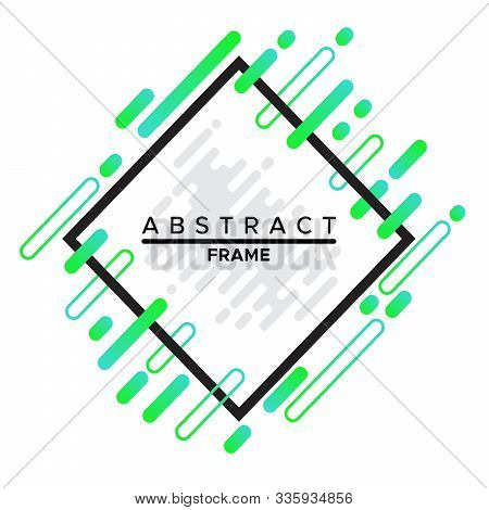 Frame Design, Dynamic Black Frame With Trendy Abstract Geometric Shapes On A White Background. Vecto