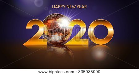 2020 Happy Newyear. Holiday Design With Disco Ball. Vector Illustration.