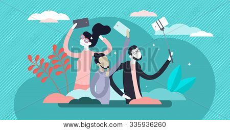 Selfies Lifestyle Vector Illustration. Taking Self Picture In Flat Tiny Person Concept. Mobile Smart