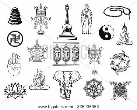 Buddhism Religion Sketches With Buddhist Religious Symbols. Vector Buddha, Dharma Wheel And Ying Yan