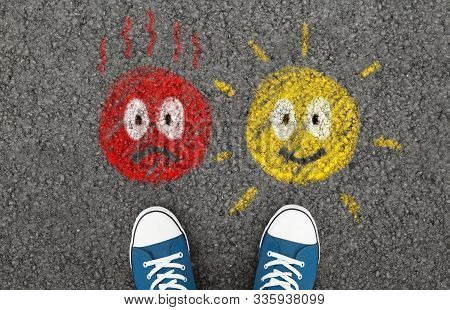 Negative And Positive Feedback. Painted Emoticons On Alphalt Road, Metaphor Of Unhappy Or Satisfied