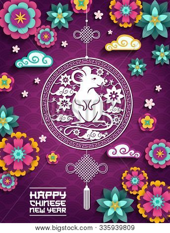 Happy Chinese New Year, 2020 Mouse Rat Sign, Clouds And Flowers Papercut Pattern On Purple Backgroun