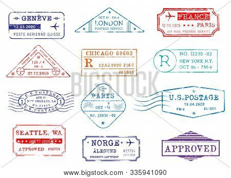 Airmail Postage Stamps With City And Dates, Vector Icons. Post Office Delivery And Customs Approval
