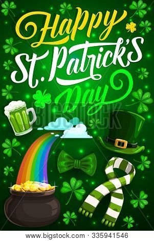 Happy St Patrick Day Vector Design Of Irish Holiday Shamrock, Leprechaun Gold And Hat. Green Beer, L